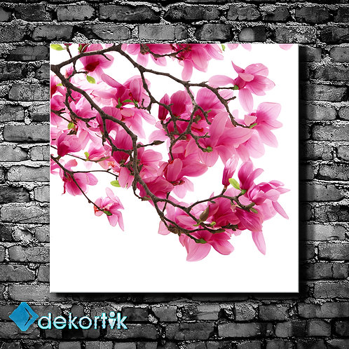 Pembe Açan Çiçekler Tablo