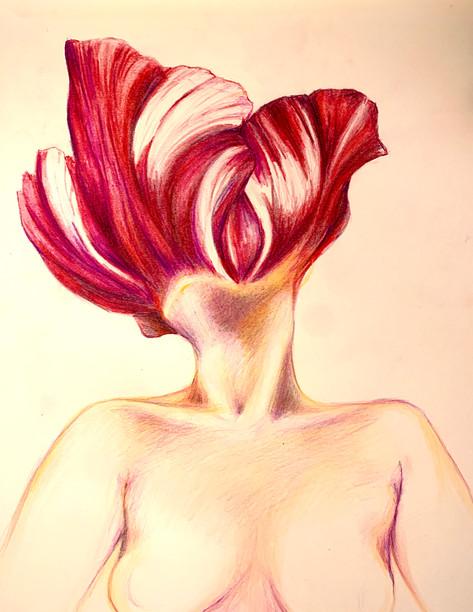 Self portrait: Tulip head