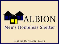 Albion Homeless Shelter Sign