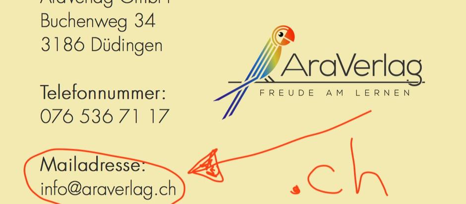 27: Neue Mailadresse: info@araverlag.ch