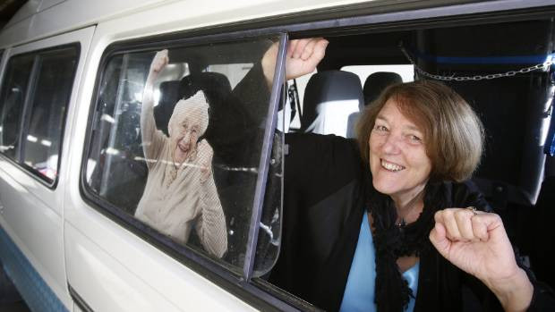 Glenwood Home facility manager Veronica Ligteringen says goodbye to the home's community van following a $20,000 funding announcement by the Community Trust of Mid and South Canterbury to purchase a new van.