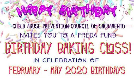 Freda Fund Birthday Baking Class event flyer in celebration of February–May 2020 birthdays.