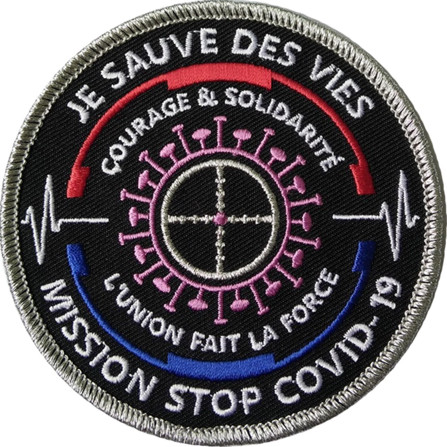 ÉCUSSON JE SAUVE DES VIES MISSION STOP COVID-19