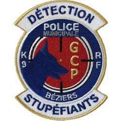 ÉCUSSON POLICE MUNICIPALE BÉZIERS GCP K9 DÉTECTION STUPÉFIANTS