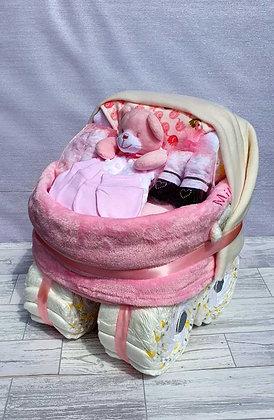 Personalised Nappy Pram Plus - Pink