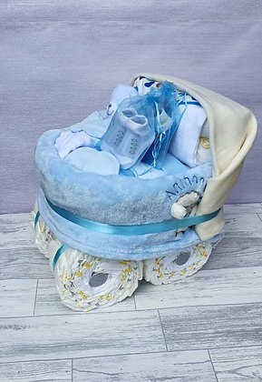 Personalised Nappy Pram Plus - Blue
