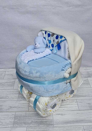 Personalised Nappy Pram - Blue