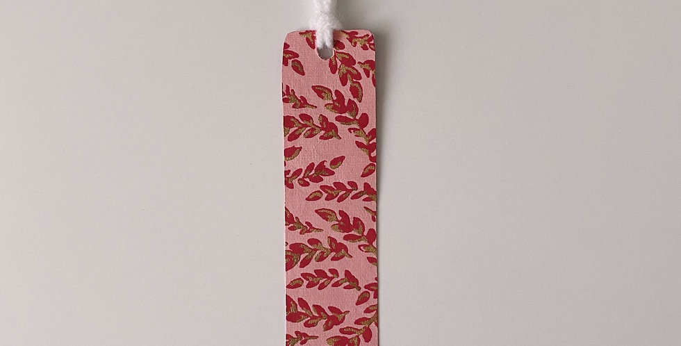 Pink & Gold Leaves Bookmark With Tassel