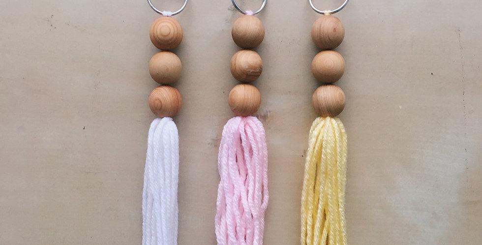 Cedar Wood Tassel Keychain
