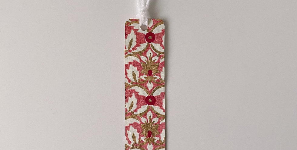 Pink White & Gold Bookmark With Tassel
