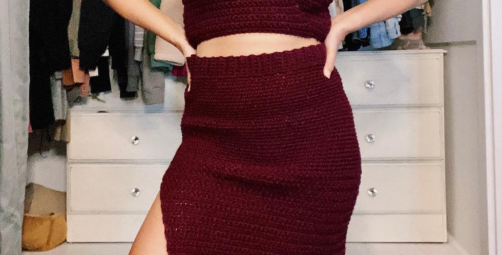 Medium Claret Slit Skirt
