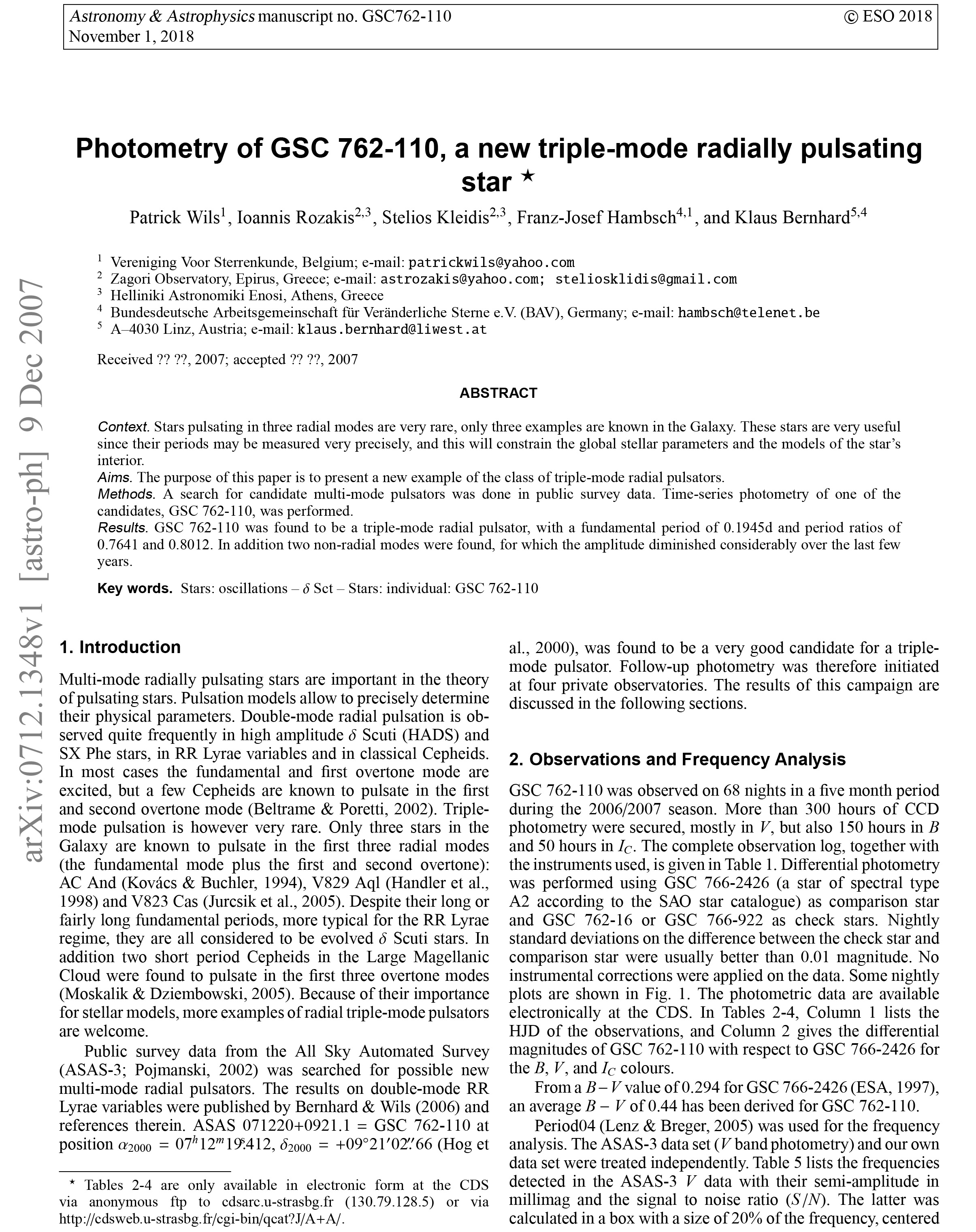Photometry of GSC 762-110, a new triple-