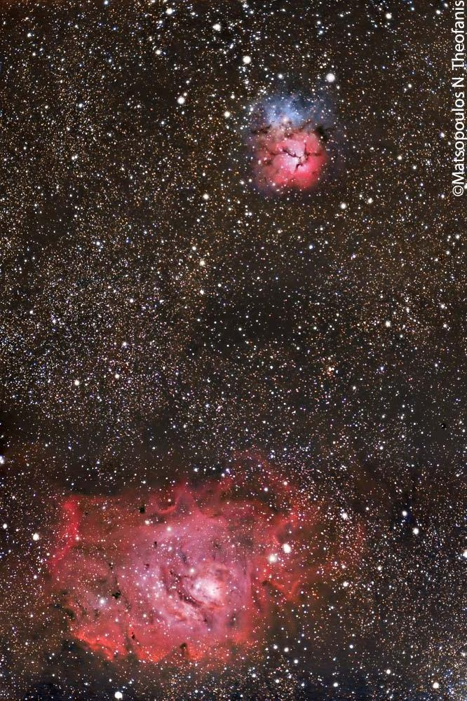 M8 and M20 - The Lagoon and Trifid Nebulae by Theofanis Matsopoulos