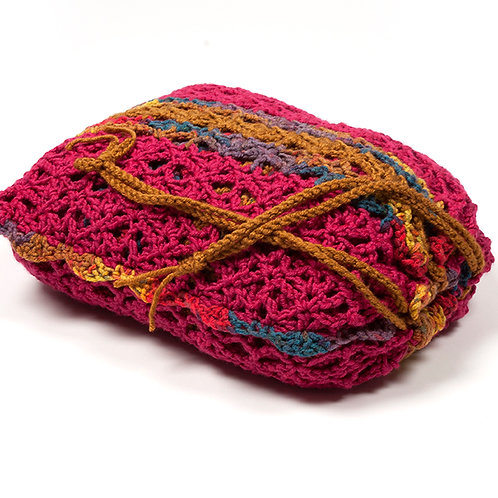 Magenta travel blanket in matching bag