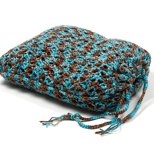 Channai Mocha Mint travel blanket in matching turquoise blend bag