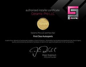 Ceramic Pro certificate