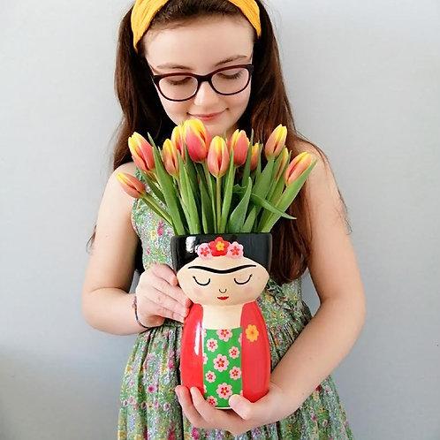 Frida Kahlo Vase filled with Spring Tulips