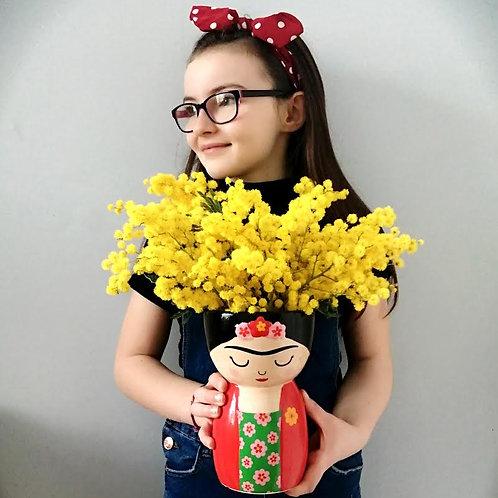 Frida Kahlo Vase filled with Fresh Mimosa