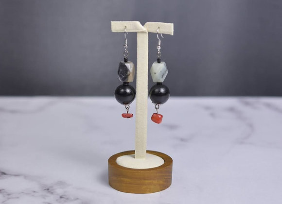 Black Amazonite Earrings