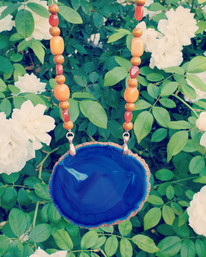 Agate with Calcite Necklace