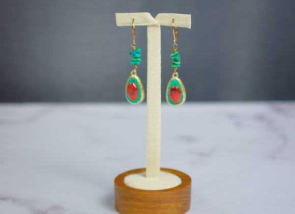 Carnelian and Turquoise Earrings