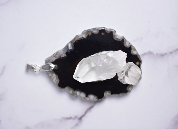 Agate and Quartz Pendant