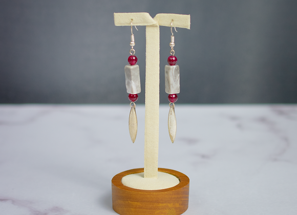Grey Jasper and Ruby Earrings