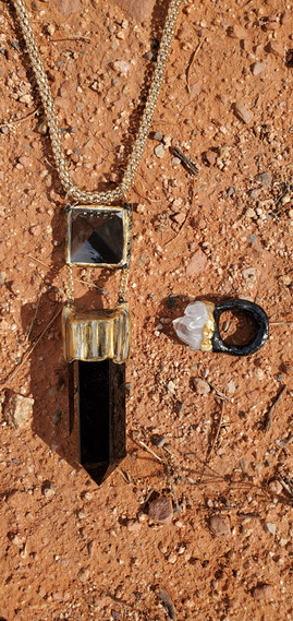 Obsidian and Sardonyx Necklace