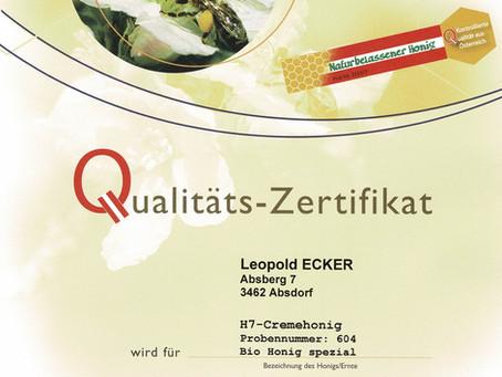 Qualitäts - Zertifikat - österreichisches Honig-Gütesiegel 2020
