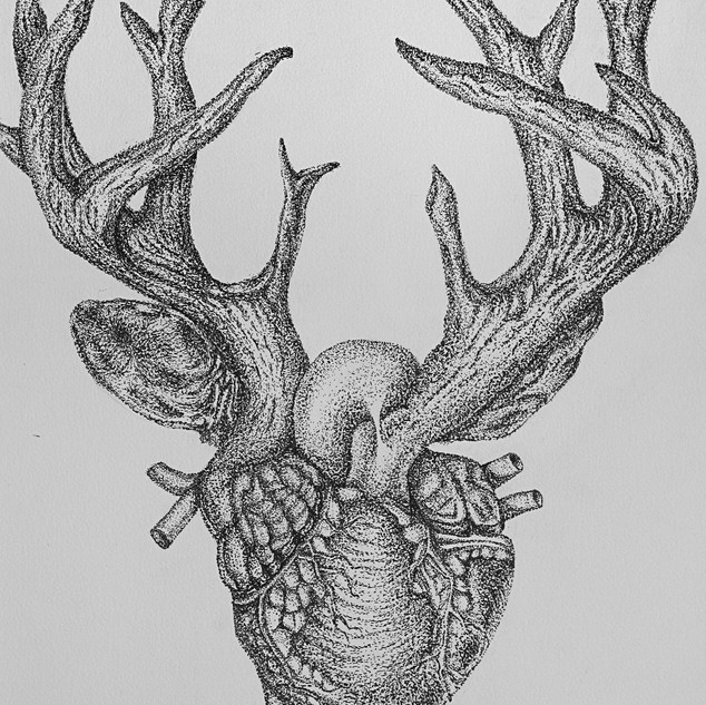 <Dark Heart> 14x18 inches Pen and ink