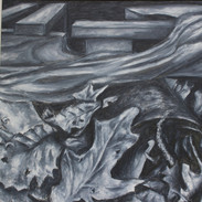 <Leaves> 19*21.5 inches Oil paint, Charcoal