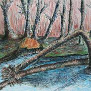 <landscape #7> 42.9*32 inches Oil pastel