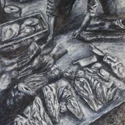 <Massacre#4> 13.75*17.25 inches Oil paint, Charcoal
