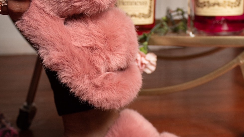 pink fur slippers