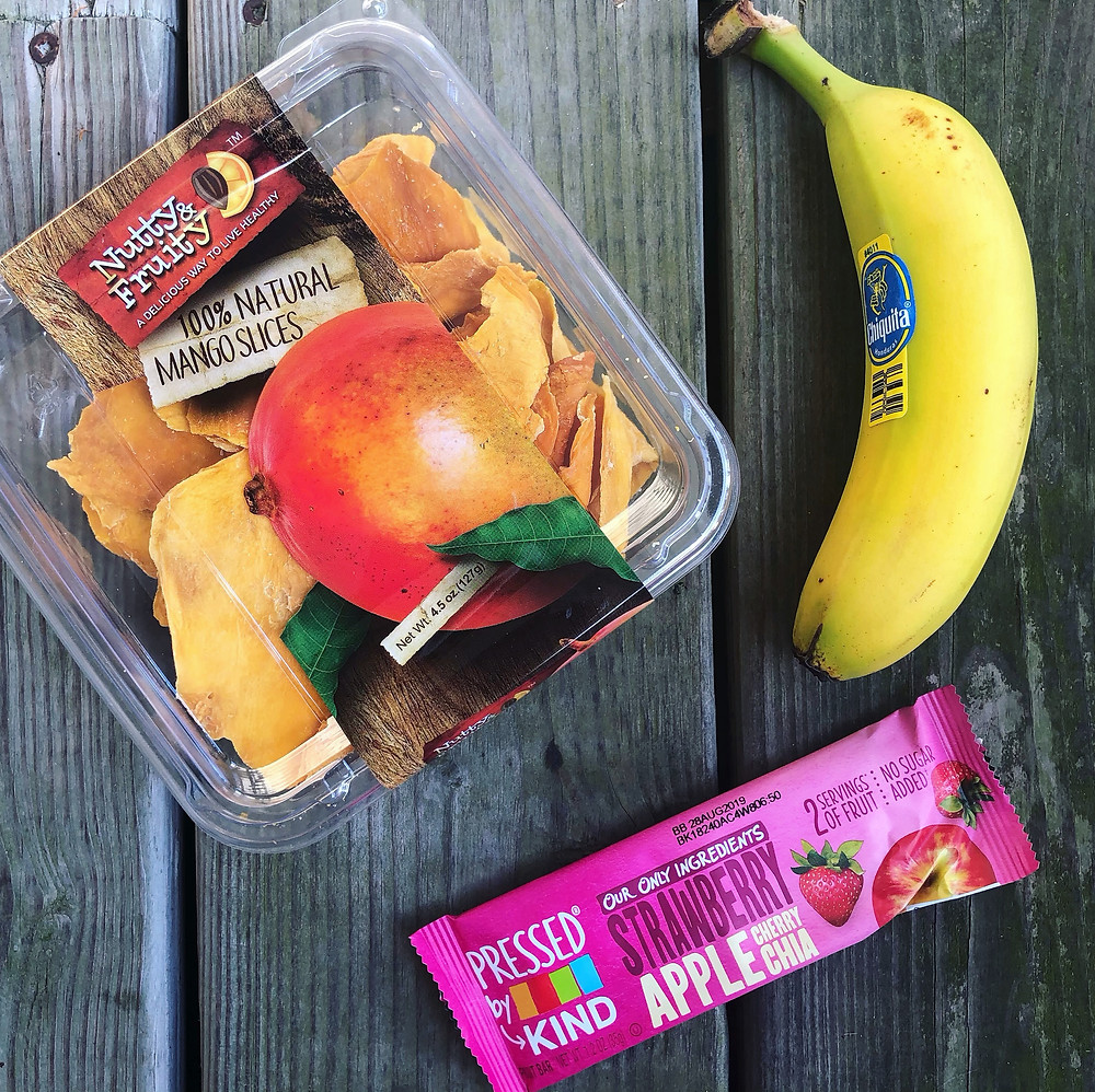 Pre-workout snacks: Dried Mango, Banana, Kind Bar Pressed