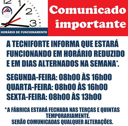 COMUNICADO IMPORTANTE - NOVOS HORÁRIOS D