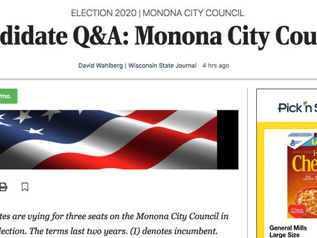 Wisconsin State Journal publishes City Council Candidate responses in 3/2/2020 edition
