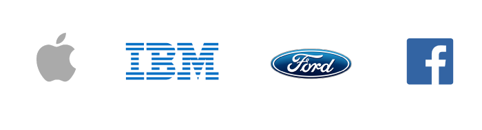 Logos of Apple, IBM, Ford, Facebook