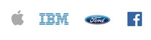 Logos of Apple, IBM, Ford, Facebook