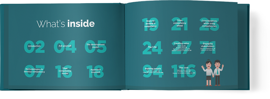 graphic design for a two page book spread using vector characters for a contents page