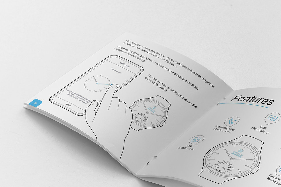 Technical line drawing illustrations for TITAN's smart watch