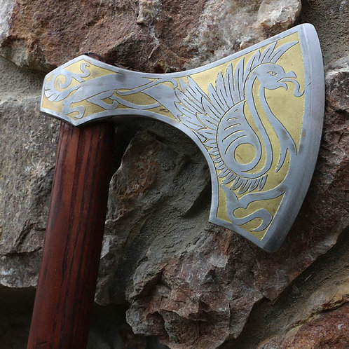 Viking Axe Golden Etched Griffin, Hand Forged