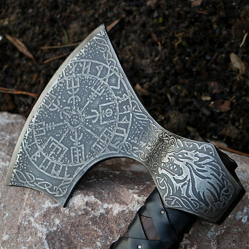 Etched Bearded Viking Axe Fenrir. Hand Forged Axe.