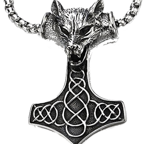 Thor's Hammer Wolf Head Necklace
