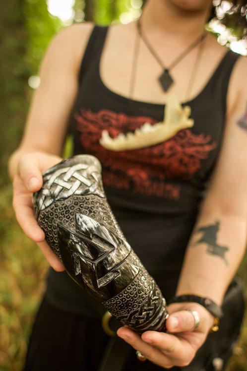 Hand Carved Valknut Viking Drinking Horn