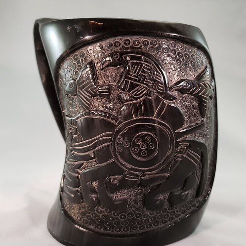 Carved Odin's Ravens Viking Drinking Tankard