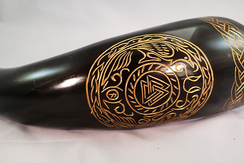 Engraved Valknut Hugin and Munin Viking Drinking Horn