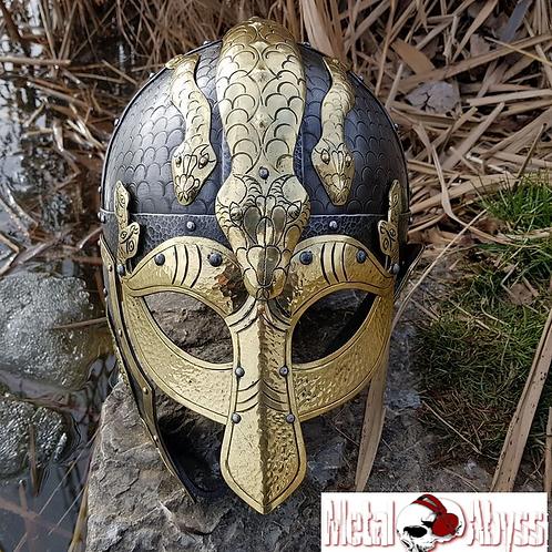 Viking Battle Helmet, Brass Decorated Jörmungandr