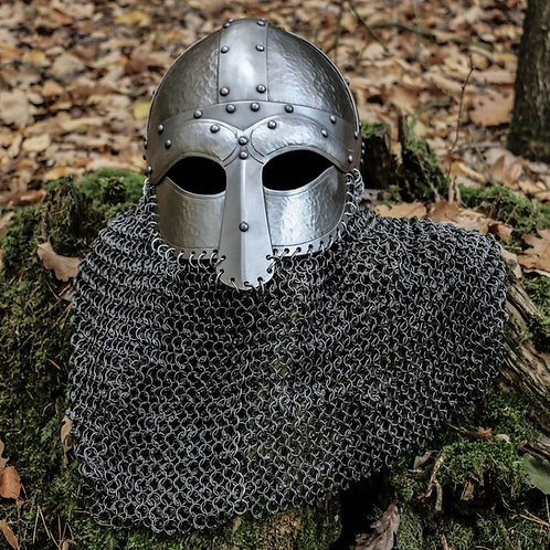 Viking Battle Helmet 2mm, Riveted Aventail Chainmail