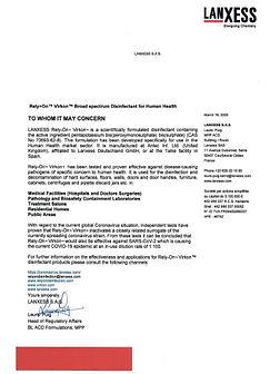 Lanxess conferma efficacia di Rely+On Vikron contro Coronavirus umano